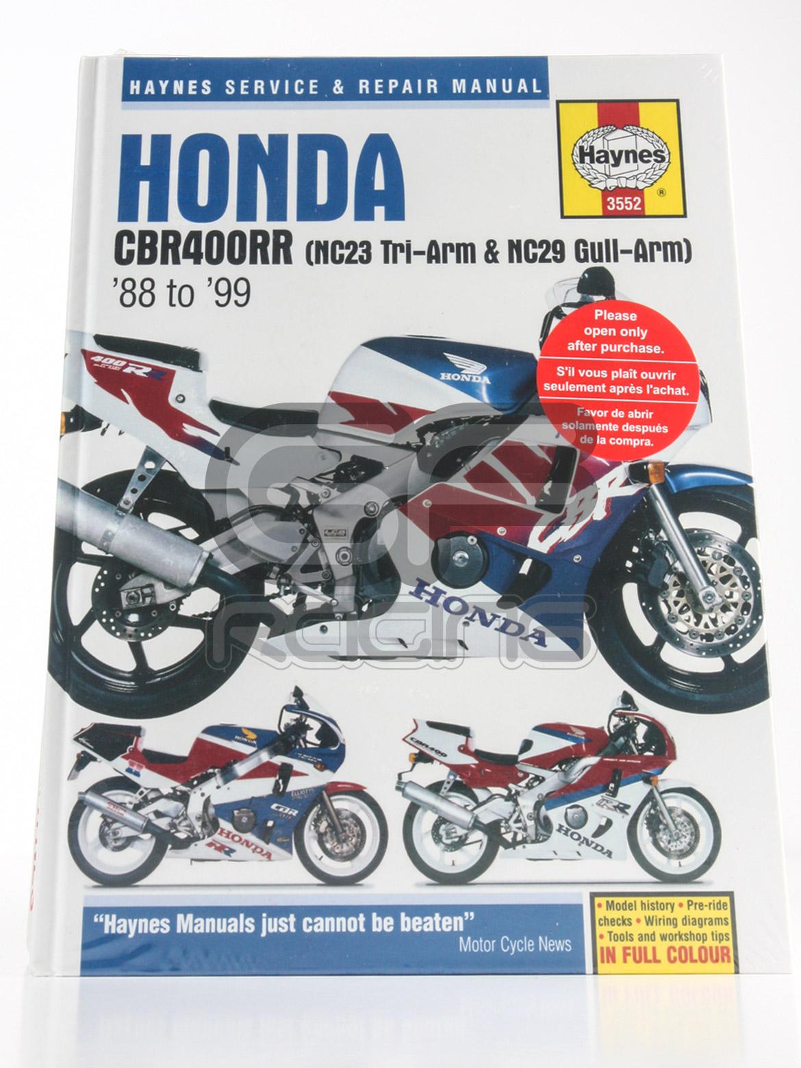 haynes workshop manual cbr400 nc23 nc29 rrp direct honda rh rrp direct Honda From Naruto Honda RVF750R
